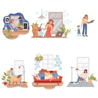 Les personnes séjournant et travaillant à la maison pendant l'illustration de l'éclosion du coronavirus covid-19