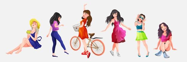 Personnes serties de belles filles et femmes. illustration en style cartoon.
