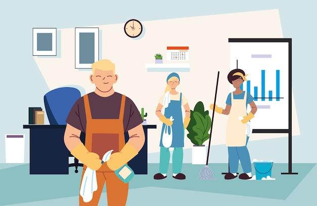 Personnes en service de nettoyage pour les entreprises illustration desing