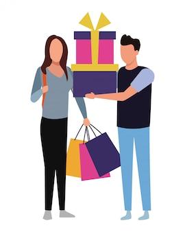 Personnes et shopping