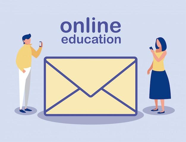 Personnes avec smartphone et icône de message, éducation en ligne