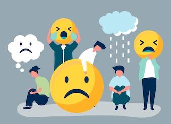 Personnes souffrant de dépression et de malheur