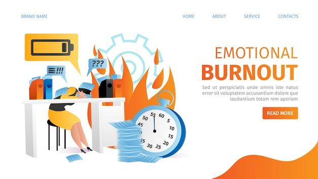 Personnes souffrant d'épuisement émotionnel, personnage de femme travaillant dans la page de destination du bureau