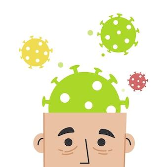 Des personnes stressées qui écoutent beaucoup d'informations sur la pandémie et le virus corona. il n'y a que du spam informatif dans leur tête. stress, peur, destruction de la vie normale.