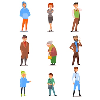 Personnes de style de vie, d'âge et de profession différents. ensemble d'illustration plat
