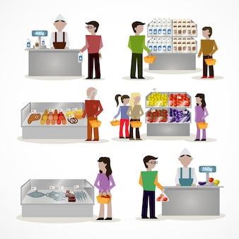 Personnes en supermarché