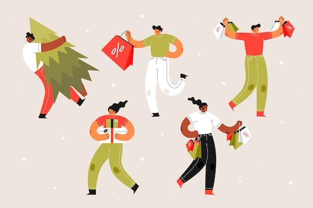 Personnes tenant des arbres et des coffrets cadeaux