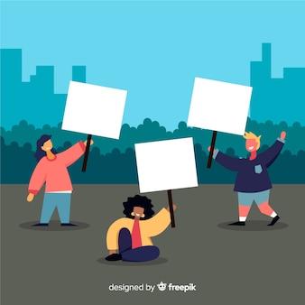 Personnes tenant une bannière