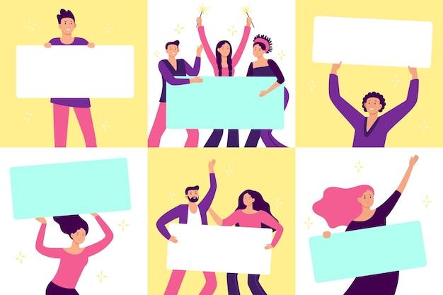 Personnes tenant des bannières. démontrer la campagne célébrer, femme et homme avec panneau d'affichage. illustration vectorielle