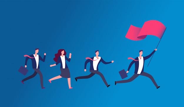 Personnes tenant le drapeau et en cours d'exécution. chef d'entreprise menant une équipe de bureau. concept de vecteur de leadership