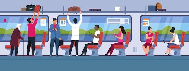 Personnes en train illustration