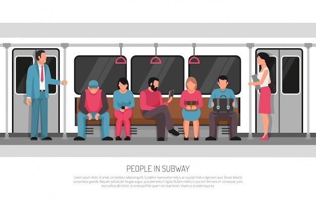 Personnes transport de métro affiche
