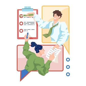 Personnes travaillant à domicile avec une application en ligne