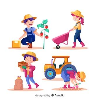 Personnes travaillant ensemble dans l'agriculture illustrées