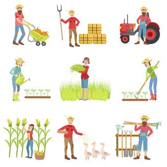 Personnes travaillant sur la ferme