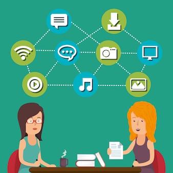 Personnes travaillant avec des icônes de médias sociaux