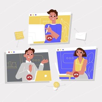 Les personnes travaillant en ligne illustrées