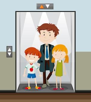 Personnes utilisant l'ascenseur qui monte