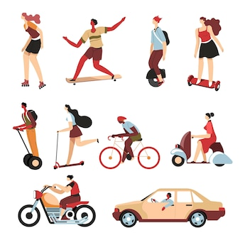 Personnes utilisant différents moyens de transport en ville, personnages isolés sur hoverboard et scooter gyroscopique