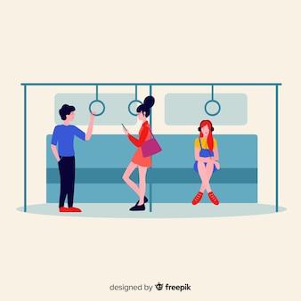 Personnes utilisant le fond de métro