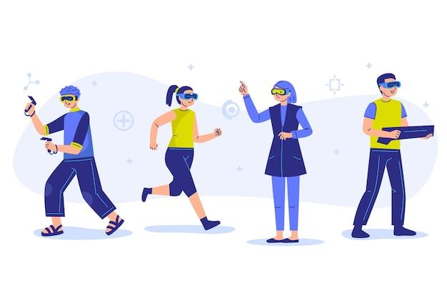 Personnes utilisant des lunettes de réalité virtuelle