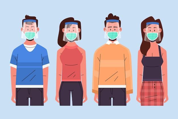 Personnes utilisant un masque facial et un masque