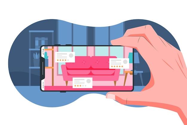 Personnes utilisant la réalité augmentée sur les smartphones
