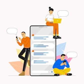 Personnes utilisant un smartphone pour discuter et communiquer sur les réseaux sociaux