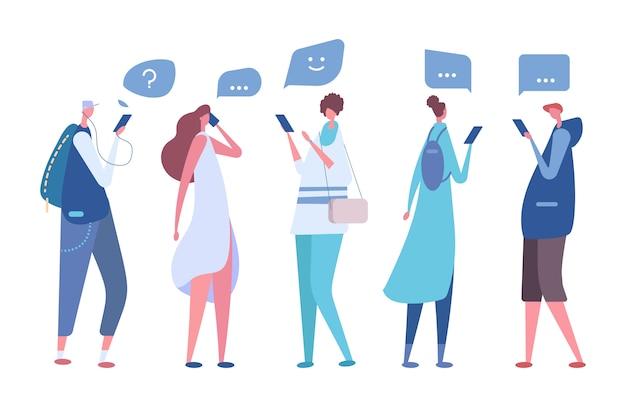 Les personnes utilisant des smartphones. concept de communication virtuelle de vecteur