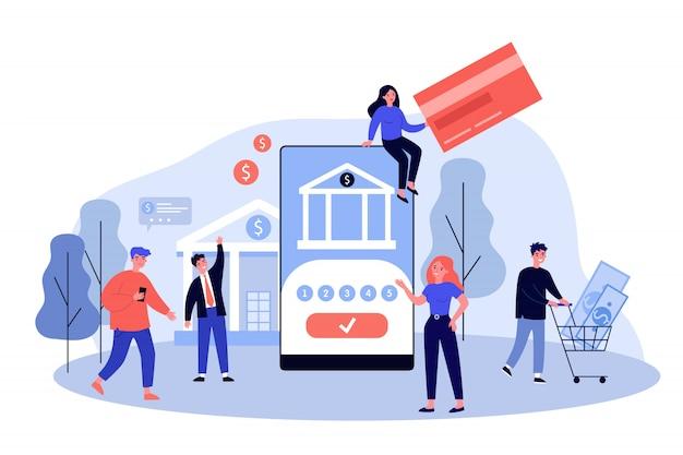 Personnes utilisant des smartphones pour les paiements en ligne