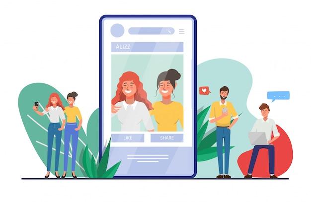 Personnes utilisant un téléphone mobile pour la communication sur un réseau de médias sociaux.