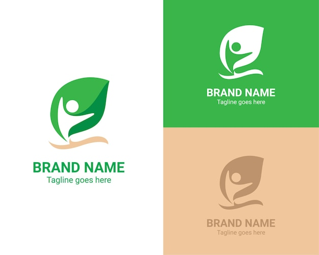 Personnes en vecteur de logo nature forme feuille