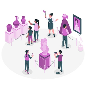 Personnes visitant l'illustration de concept de musée d'histoire