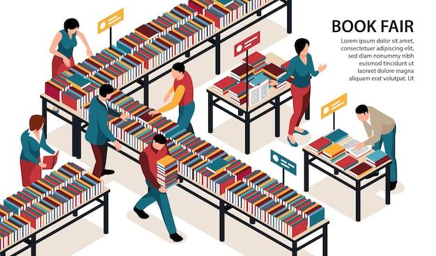 Personnes visitant l'illustration de la foire du livre