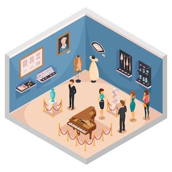 Personnes visitant un musée expose une composition isométrique