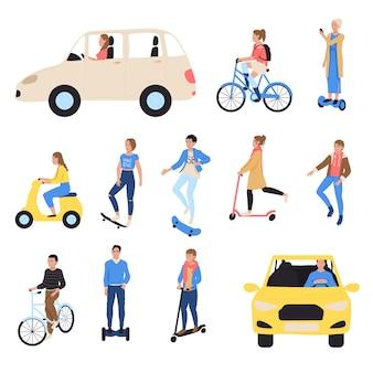 Personnes voyageant en transport écologique, main isolée dessiner illustration. personnage de dessin animé au volant de voiture électrique, vélo, scooter, taxi et patin, planche à roulettes