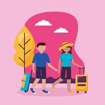 Personnes et voyages design plat
