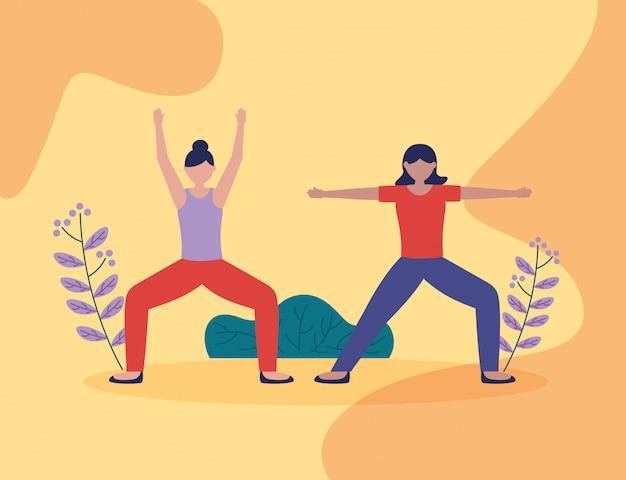 Personnes yoga en plein air dans un style plat