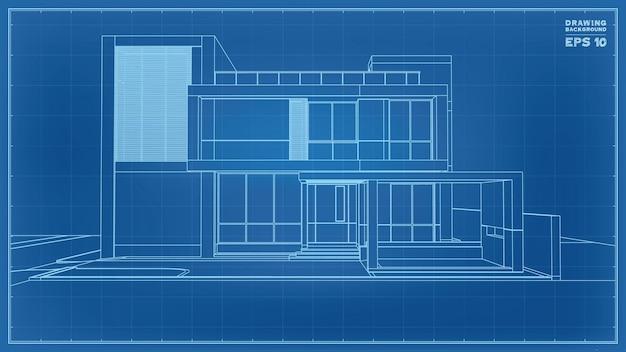 Perspective de plan. rendu 3d du wireframe de la maison tropicale. illustration vectorielle de l'idée de construction de maison.