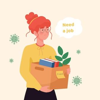 Perte d'emploi en raison d'une crise de coronavirus avec une femme