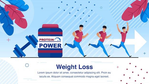 Perte de poids, bannière de vecteur plat mode de vie sain