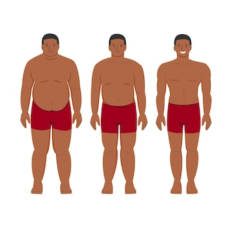 Perte de poids de l'homme noir afro-américain patient obèse et jeune personne mince en bonne santé