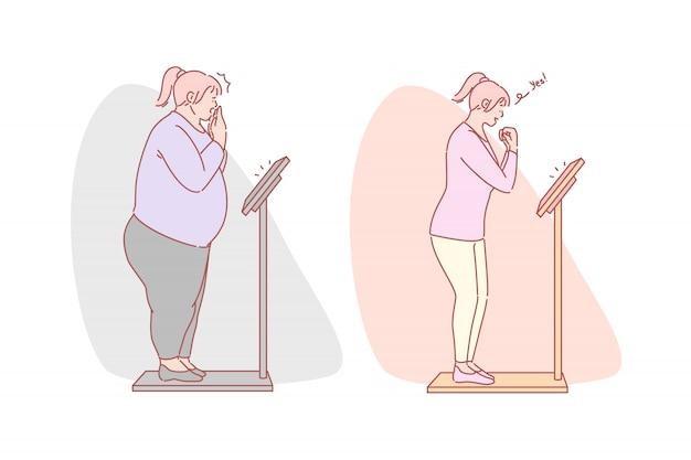 Perte de poids, régime alimentaire, concept de jeu de fitness