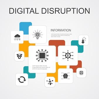 Perturbation numérique infographie 10 icônes de ligne template.technology, innovation, iot, icônes de numérisation icônes simples