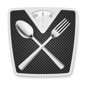 Pèse-personne avec fourchette et cuillère.