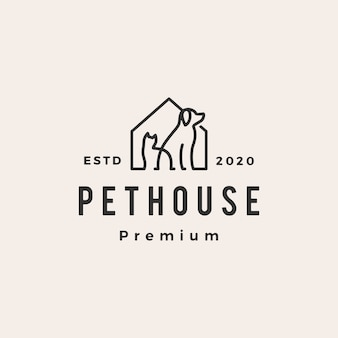 Pet house chien chat hipster logo vintage icône illustration