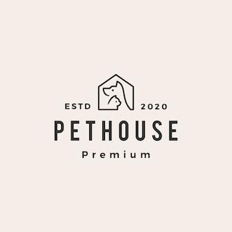 Pet house chien chat hipster logo vintage icône illustration