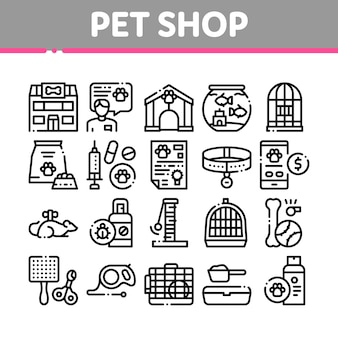Pet shop collection elements icons set