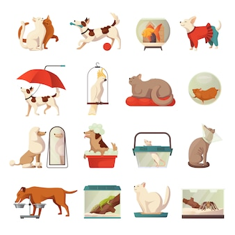 Pet shop icons set