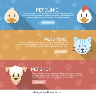 Pet store bannières avec animaux heureux